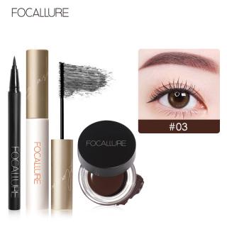FOCALLURE 3Pcs Pro Eye Makeup Set Mỹ phẩm với eyeliner đen và Mascara và Gel Eyebrow CreamTools thumbnail