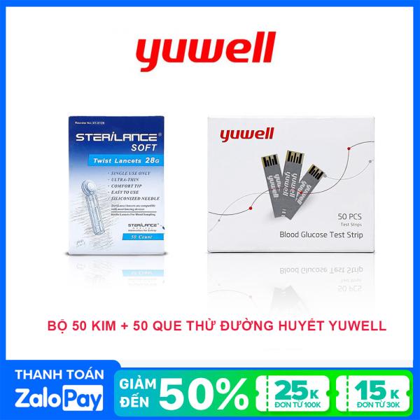 Que thử đường huyết Yuwell gồm 50 kim lấy máu & 50 que thử đường huyết.
