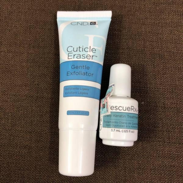 Bộ đôi dưỡng phục hồi móng CND RescueRxx và Tẩy da chết tạo độ ẩm Cuticle Eraser giá rẻ