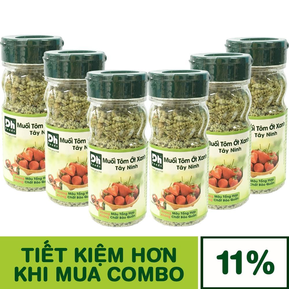 Combo 6 Hũ Muối Tôm Ớt Xanh Tây Ninh 60g Dh Foods