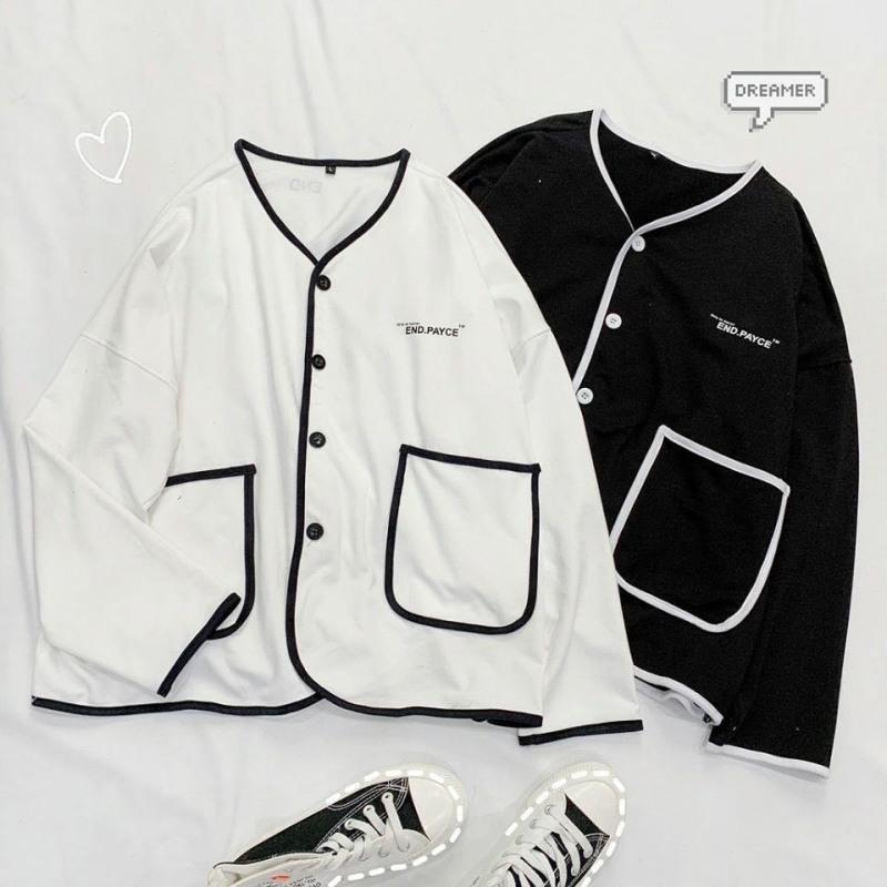 ( FREE SHIP MAX) - Áo Khoác Cardigan, Sweater, Jacket END.PAYCE jacket nỉ len unisex sweater viền phối đen trắng