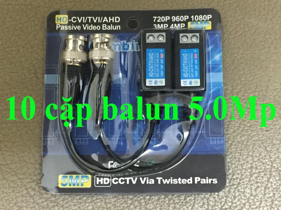 COMBO 10 CẶP balun 5.0Mp VẶN VÍT BDV-04 đi dây 600m  - video balun 5.0Mp