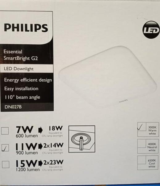 Bộ đèn downlight LED âm trần Vuông Philips DN027B LED9/CW L150 SQ 11W  trắng, vàng, trung tính