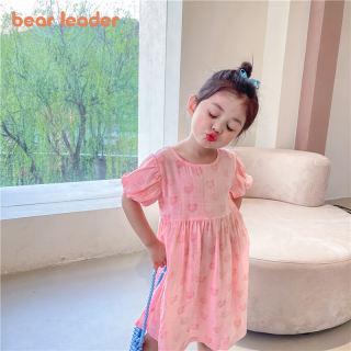 Đầm Công Chúa Bé Gái Lãnh Đạo Gấu, Trẻ Em In Tim Vestidos Bộ Đồ Dự Tiệc Hở Lưng Thời Trang Hàn Quốc Cho Bé Gái Tay Ngắn 12M-6Y