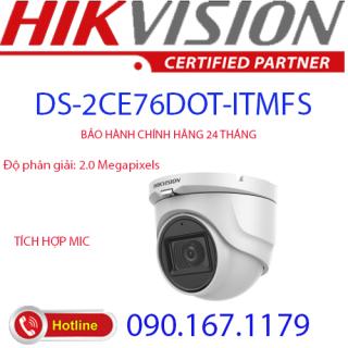[HCM]Camera Dome HD-TVI hồng ngoại 2.0 Megapixel HIKVISION DS-2CE76D0T-ITMFS thumbnail