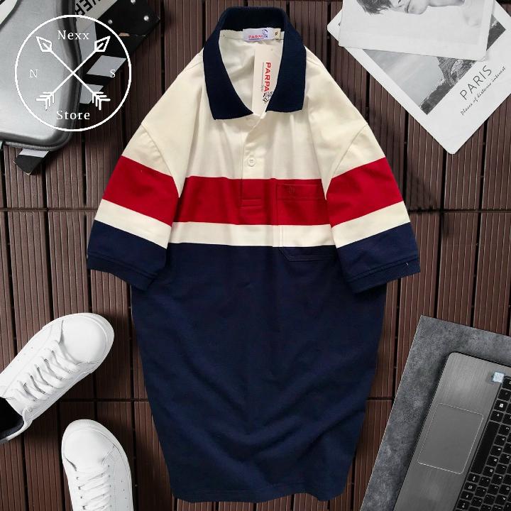 áo thun polo nam sọc ngang cá sấu vải cotton cao cấp NS006