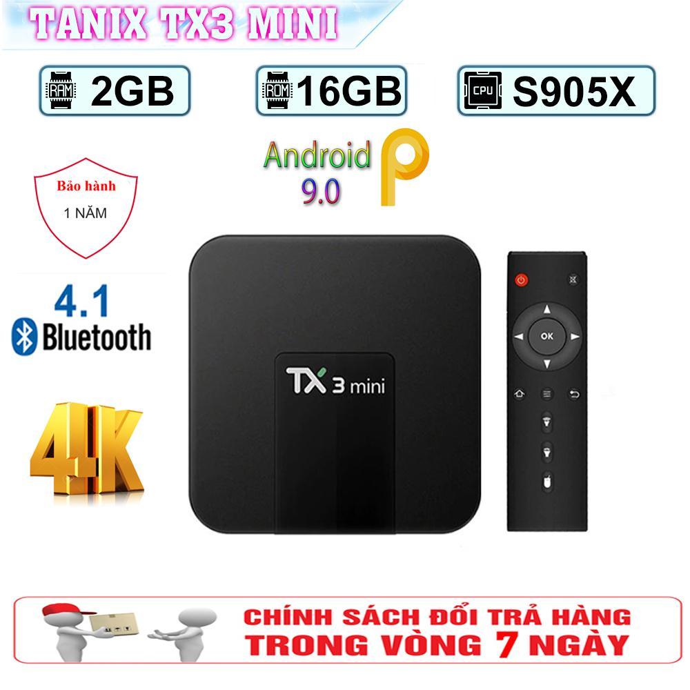 Android Tivi Box Tanix TX3 Mini -  Ram 2GB, Rom 16GB, Android 9.0 - Bluetooth 4.0 ( Giá Hủy Diệt ) Siêu Giảm Giá