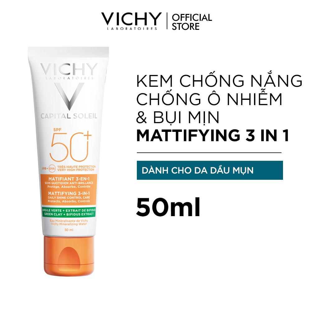 Kem Chống Nắng Dành Cho Da Dầu Mụn, Giảm Các Dấu Hiệu Lão Hóa Và Kiềm Soát Bóng Dầu Vichy Spf50+ Capital Soleil Mattifying 3-in-1