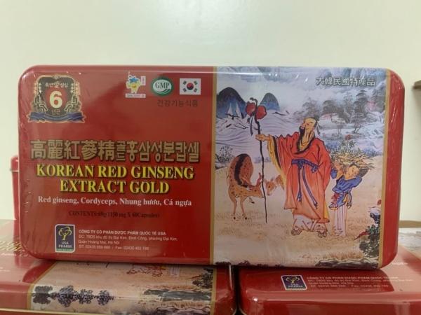 Viên Hồng Sâm Nhung Hươu Linh Chi Korean Red Ginseng Extract Gold (Hộp 60 Viên) cao cấp