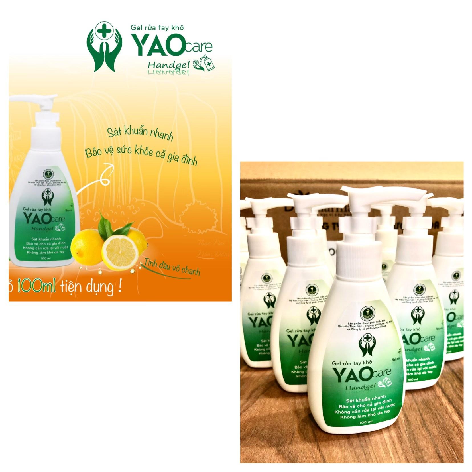(ĐÃ KIỂM NGHIỆM) Gel rửa tay khô YAOCARE 100ml- không cồn công nghiệp của Đại học Dược HN- sát khuẩn nhanh, không làm khô da tay cao cấp