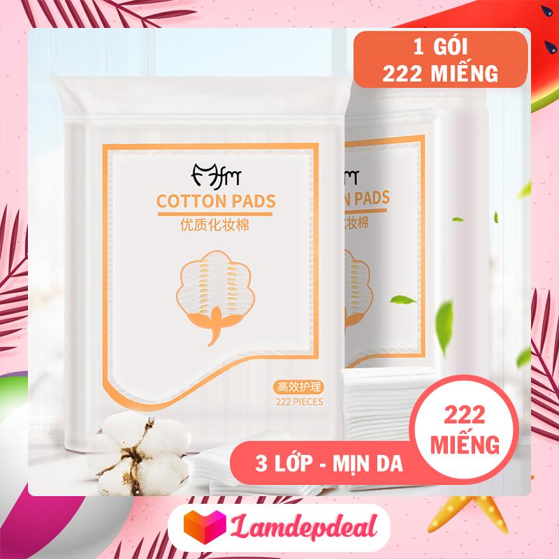 ♥ Lamdepdeal - Bông tẩy trang 222 miếng Magic Lady 3 lớp - 100% cotton không xơ bông, thấm hút dung dịch dễ dàng, thân thiện với làn da - Phụ kiện trang điểm