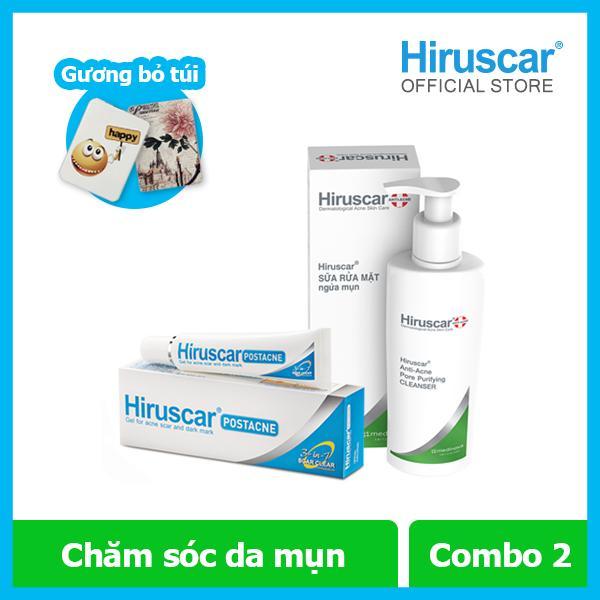 [Tặng gương]Combo gel trị sẹo thâm mụn 5g và Sữa rửa mặt ngừa mụn 100ml Hiruscar nhập khẩu