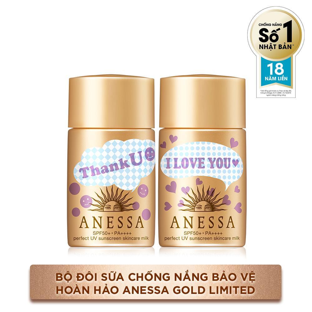 Bộ đôi sữa chống nắng bảo vệ hoàn hảo Anessa Gold Limited 20mlx2 nhập khẩu