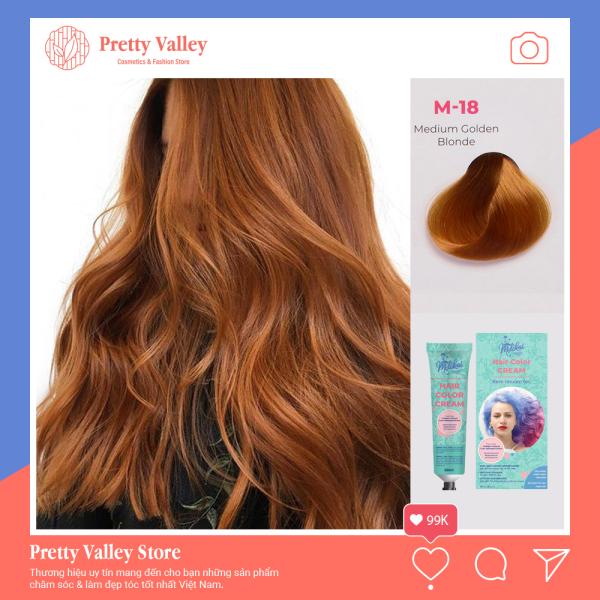 Kem nhuộm tóc cao cấp màu vàng nâu Medium Molokai 60ml [ TẶNG KÈM GĂNG TAY + CHAI OXY TRỢ DƯỠNG TÓC ] cao cấp