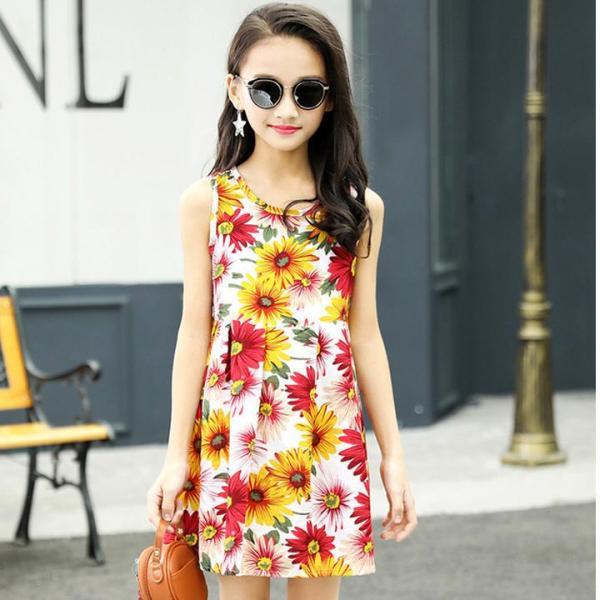 Giá bán [HCM]Đầm cotton hoa cỏ mùa xuân tươi tắn cho bé gái 3-10 tuổi phong cách Hàn Quốc xinh xắn – D063