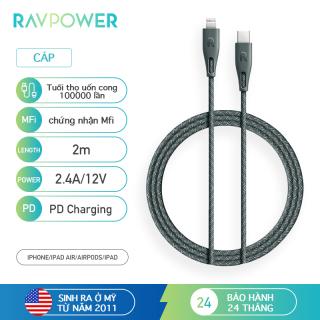 Dây Cáp sạc đồng bộ RAVPower 2.4A PD USB-C sang Lightning MFi Dữ liệu tốc độ cao được chứng nhận 2m . Nylon bện bọc ngoài Tuổi thọ uốn cong 100000 + lần màu xanh lá cây RP-CB1005GRN thumbnail