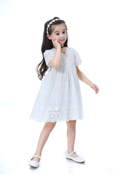 Giá bán [HÀNG CAO CẤP] Váy thiết kế màu trắng ngắn tay công chúa nhỏ cực kì đáng yêu dành cho bé mùa xuân hè 2020