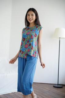 Bộ lanh mặc nhà quần lửng sát nách Việt Thắng B05.2020 - Chất lanh mềm, thoáng mát, mặc thoải mái thumbnail