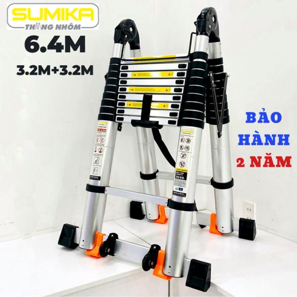 Thang nhôm rút đôi (Chữ A: 3,2m Chữ I:6,4m) Sumika SK640D- Nút cao su chống trượt, khóa chống rung lắc, 2x10 bậc, tải trọng 300kg, bảo hành 2 năm