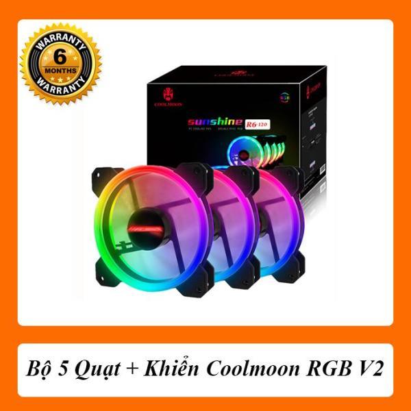 Bảng giá [5 Fan+Khiển] Quạt Tản Nhiệt Coolmoon(Coolman) RGB Phong Vũ