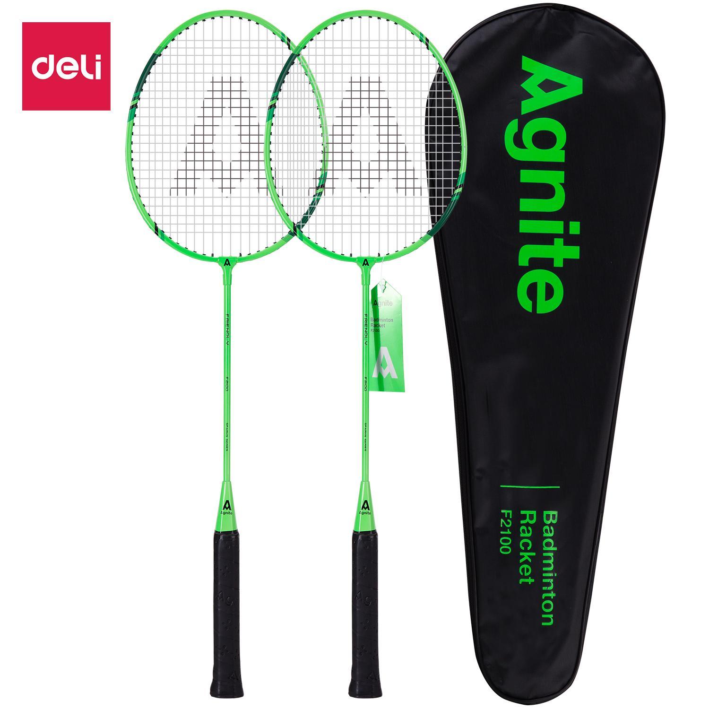 DELI Vợt cầu lông gồm 2 cây vợt + 1 bao đựng vợt Xanh WF2100 Nhật Bản