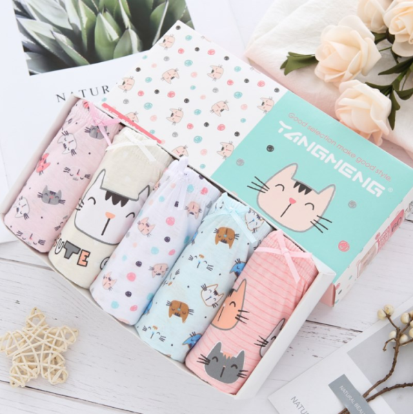 Giá bán [HCM]Set 5 quần lót bé gái Hàn Quốc 100% cotton mẫu Mèo TangMeng