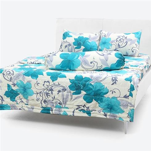 Chăn/Mền Cotton Thắng Lợi chần gòn hoa xanh nền trắng 1m7x2m