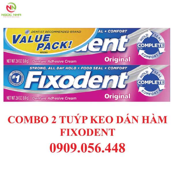 Combo 2 tuýp Keo dán hàm răng giả hàm tháo lắp Fixodent 68g, hàng chính hãng P&G - Mỹ giá rẻ