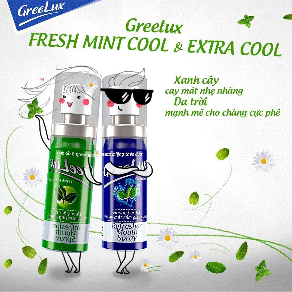 Xịt thơm miệng thảo dược Greelux Extra Cool xanh dương 12ml giúp khử mùi hôi miệng chính hãng