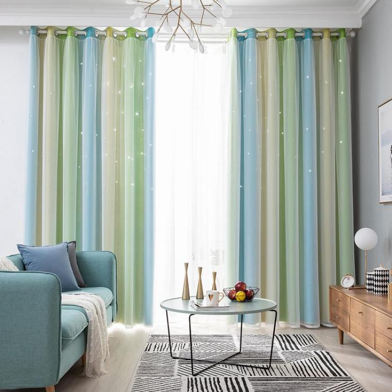Blackout Curtains Colorful Double Layer Star Cut Out Curtains for Childrens Bedroom Living Room