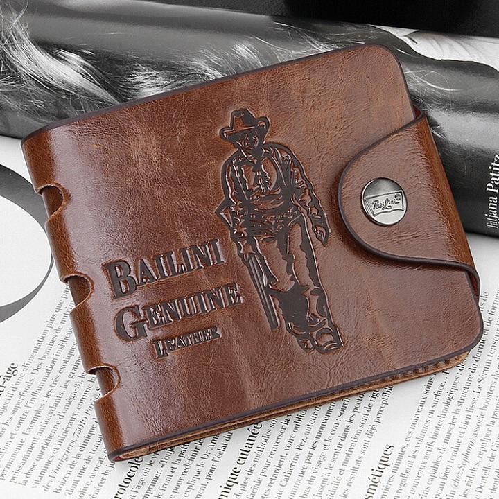 [MIỄN PHÍ GIAO HÀNG] Ví nam da bò cao bồi đẳng cấp mạnh mẽ chính hãng Bailini Leather, có khóa kéo, bỏ vừa mọi giấy tờ, bảo hành 2 năm