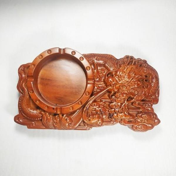 Gạt tàn gỗ Hương đỏ nguyên khối chạm khắc Rồng Phượng độc đáo - Loại cao cấp