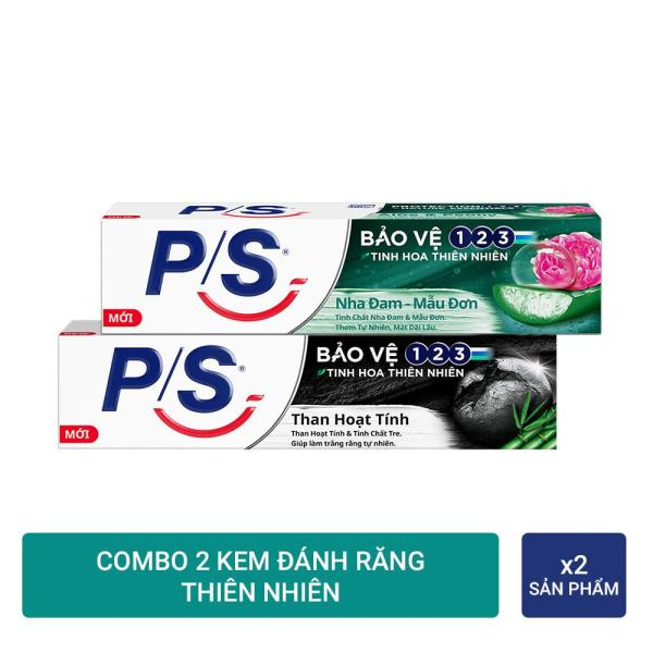 Combo 2 Kem đánh răng P/S Than hoạt tính 180g và P/S Nha đam - Mẫu đơn 180g cao cấp