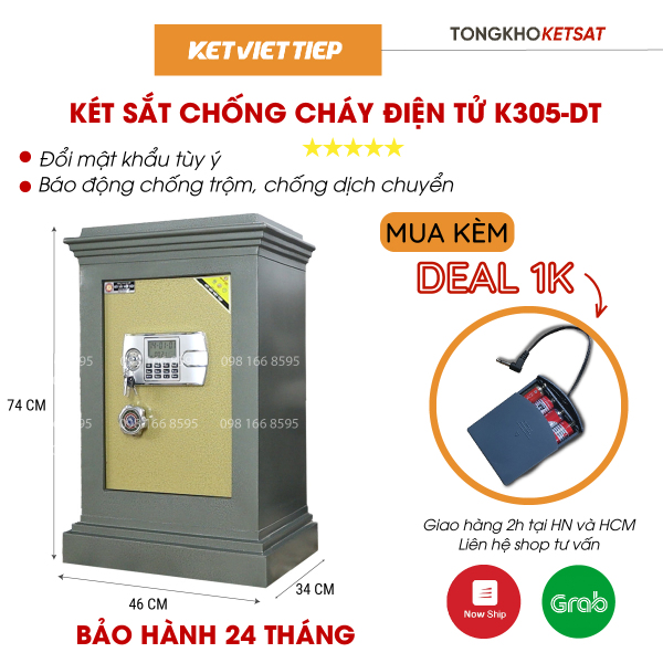 Két sắt chống cháy điện tử 🎁CHÍNH HÃNG🎁 K305-DT Nặng 80KG két sắt Việt Tiệp (Freeship Toàn Quốc)