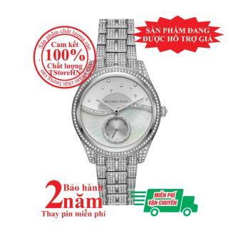 Đồng hồ nữ Michael Kors Lauryn Celestial MK3755 - Vỏ, mặt và dây màu Bạc (Silver), mặt đồng hồ và viền nạm đá pha lê Swarovski, size 38mm thumbnail