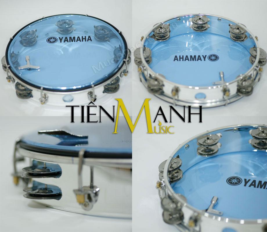Offer Ưu Đãi Trống Lắc Tay - Lục Lạc Gõ Bo Tambourine Yamaha MT6-102B (Xanh Trong Suốt - Trống Chơi Nhạc Chế Gõ Po - Xipo)