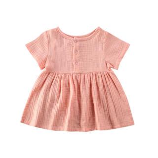 Đầm Vải Lanh Cotton Màu Trơn Mùa Hè Cho Bé Gái Đầm Xòe Mini Tay Ngắn Màu Trơn Thời Trang Quần Áo Dự Tiệc Chữ A Vestido 0-3Y