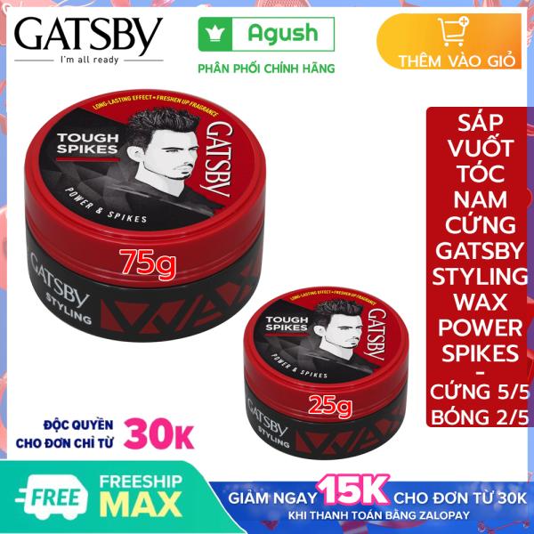 Sáp vuốt tóc nam mùi thơm cứng Gatsby chính hãng Styling Wax Power Spikes giá rẻ giữ nếp tạo kiểu Tough Spikes 25g, 75g bóng vuốt tóc ngắn khô không bết dính dạng sáp mềm gốc nước dễ rửa sạch hương hoa quả