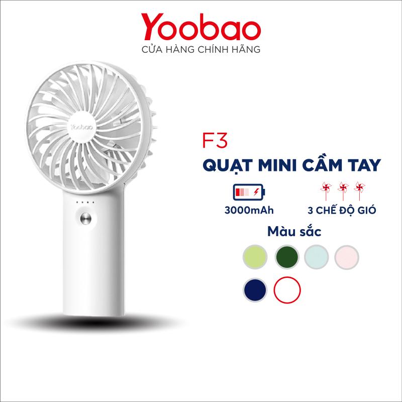 Quạt sạc tích điện mini cầm tay có thể đặt bàn Yoobao F3 3000mAh có thể chạy 15 giờ liên tục - Hãng phân phối chính thức