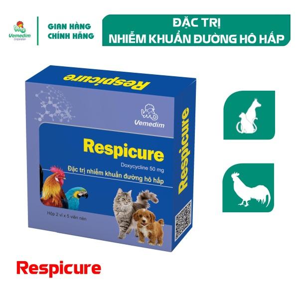 Vemedim Respicure thuốc viên trị nhiễm khuẩn đường hô hấp cho chó mèo, chim, gà đá, hộp 10 viên
