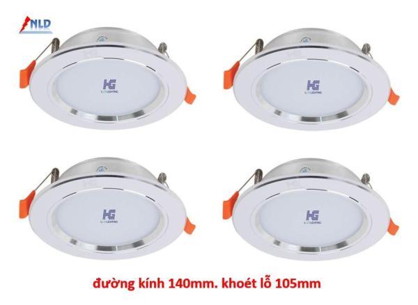 Combo 4 bộ Đèn led âm trần viền bạc 9W - 3 màu 3 chế độ HG