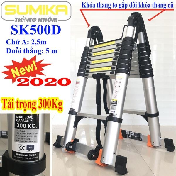 Thang nhôm rút đôi SUMIKA SK 500D New 2020 Chữ A 2m5 – duỗi thẳng 5m ( màu bạc ).  An toàn – Tiện lợi – Tiết kiệm ,2x8 bậc, tải trọng 300kg,nút cao su chống trượt,khóa chống lắc,bảo hành 2 năm.