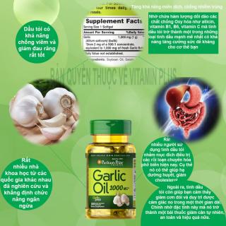 Dầu tỏi Garlic oil 1000mg của Mỹ tốt hơn 100 lần tinh dầu tỏi diep chi tăng cường hệ miễn dịch, phòng ngừa cảm cúm, giảm cholesterol, xơ vữa động mạch, Vitamin Mỹ Puritan s Pride 10 viên dùng thử 4