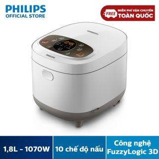 Nồi cơm điện tử Philips HD4533 1.8 lít (Trắng) - 10 chức năng nấu nướng - Hàng phân phối chính hãng