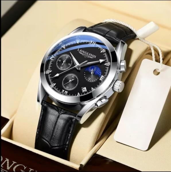 Đồng hồ Nam , đồng hồ thời trang nam LANGLISHI, có lịch , dây da thể thao , kính cường lực sapphire chống xước ,chống nước 3ATM, bảo hành 12 tháng