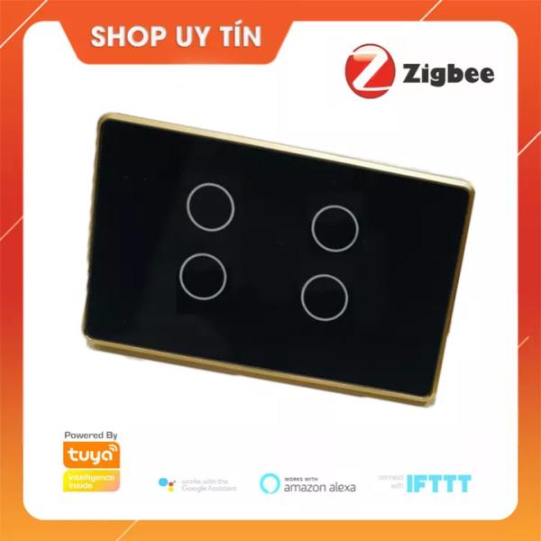 [BH 6 THÁNG]Công Tắc Thông Minh Zigbee 4 nút Tuya Smart life viền nhôm cảm ứng cho nhà thông minh