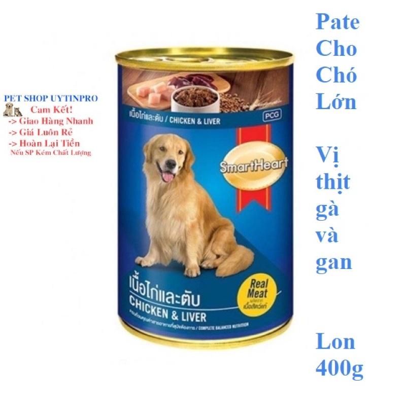 THỨC ĂN CHO CHÓ Smartheart Dạng Pate thịt gà và gan Lon 400g Xuất xứ Thái Lan