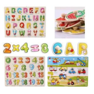 Bảng ghép hình chữ cái, chữ số, phương tiện giao thông núm gỗ(3 bảng) thumbnail