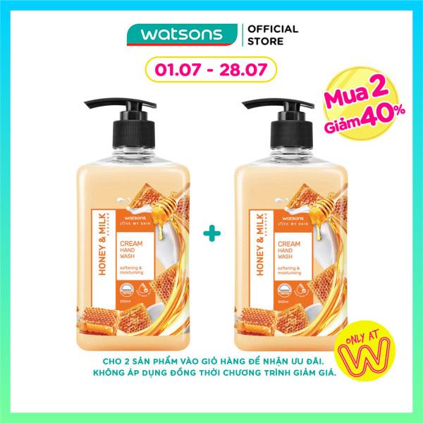 [MUA 2 GIẢM 40%] Kem Rửa Tay Watsons Love My Skin Honey & Milk Scented Cream Hand Soap Chiết Xuất Mật Ong & Sữa 500ml giá rẻ