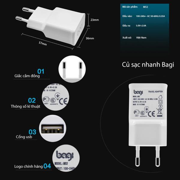Củ sạc 2A cao cấp thương hiệu Bagi - Tiêu chuẩn Châu Âu CE - Dùng cho iPhone và các dòng máy Android